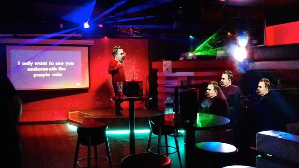 Never, ever do karaoke in a bar with three people.