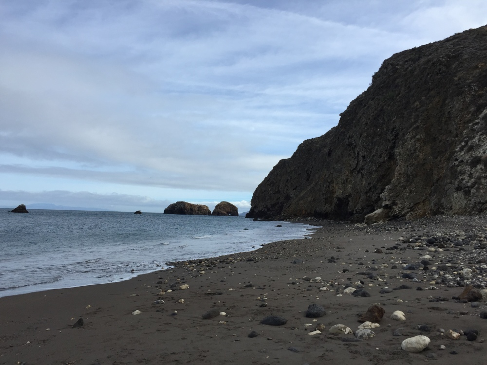 The desolate beach of Santa Cruz Island.
